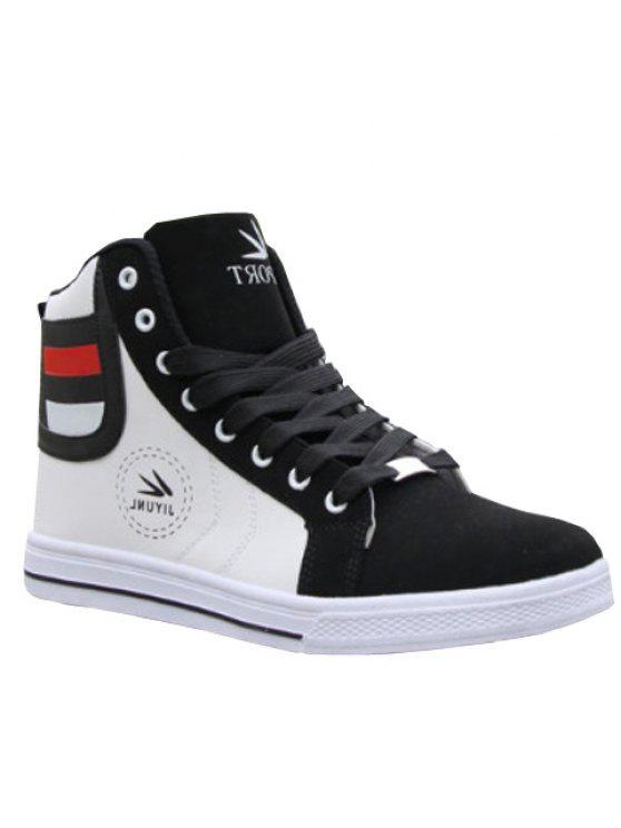 العصرية عالية-- الأعلى و اللون كتلة تصميم الرجال عارضة الأحذية - أبيض 40