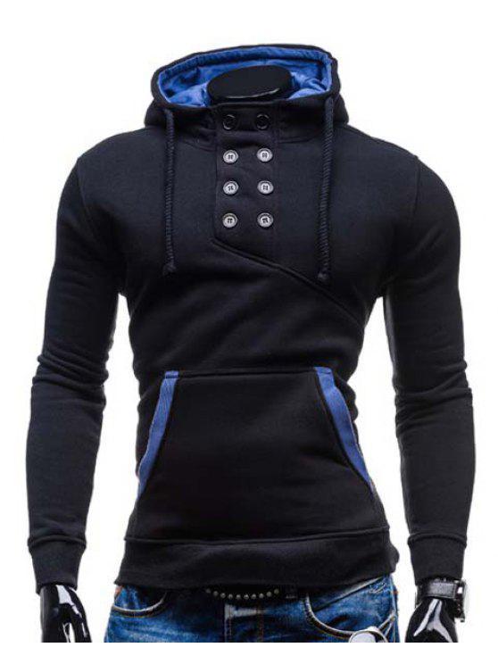 De moda con capucha doble de pecho de bolsillo Hemming adelgaza la manga larga de algodón con capucha Blend para los hombres - Negro M