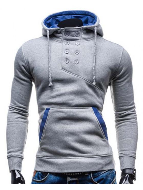 affordable Trendy Hooded Double Breasted Pocket Hemming Slimming Long Sleeve Cotton Blend Hoodie For Men - LIGHT GRAY L