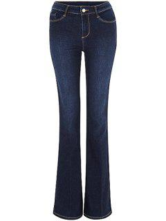 Blue Faded Flared Jeans - Deep Blue L