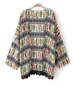 Lace Splicing Cat Print Long Sleeve Blouse - L