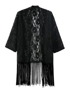 See-Through Floral Lace Half Sleeve Kimono - Black M