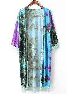 Tie Dye Print 3/4 Sleeve Kimono - Water Blue S