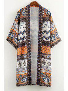 Vintage Print 3/4 Sleeve Kimono - White And Black M