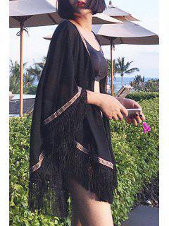 Embroidery Tassel Splicing 3/4 Sleeve Kimono - Black