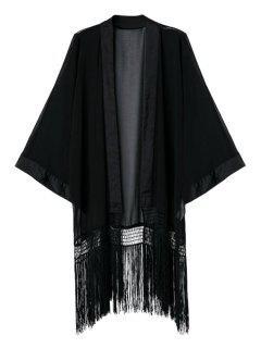 Black Collarless Long Sleeve Kimono - Black L