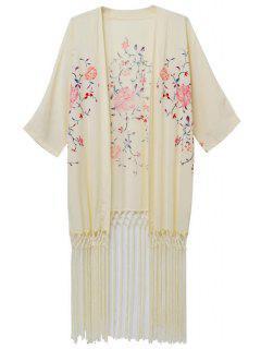 Flowers Print Half Sleeves Kimono - Beige L