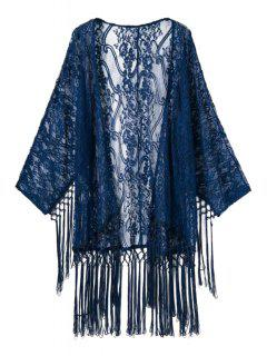 Lace Long Sleeve See-Through Kimono - Deep Blue L