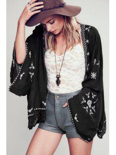 Wide Sleeve Embroidered Kimono Blouse - Black L