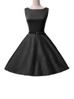 Polka Dot Mid-Calf Ball Gown Dress - Black M