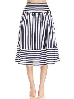Stripe Panel Skirt - White And Black Xl