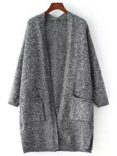 Pocket Side Slit Long Sleeve Cardigan - Deep Gray