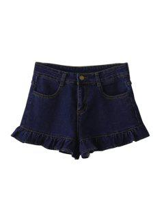 Deep Blue Denim Wide Leg Shorts - Deep Blue S