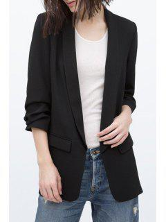 Shawl Collar Solid Color Ruffle 3/4 Sleeve Blazer - Black S