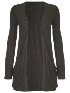 Pure Color Long Sleeve Cardigan - Deep Gray L