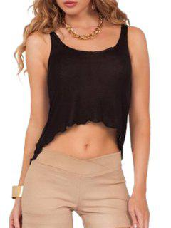 Pure Color Sleeveless Crop Top - Black M