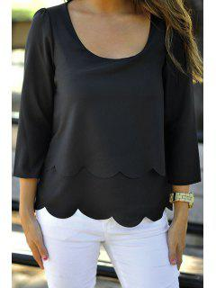 Pure Color 3/4 Sleeve Backless T-Shirt - Black M