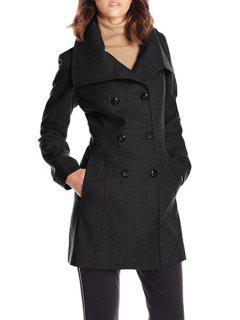 Woolen Turn Down Collar Long Sleeve Coat - Black M