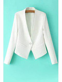 One Button Solid Color Long Sleeve Blazer - White S