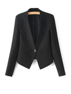 One Button Solid Color Long Sleeve Blazer - Black L