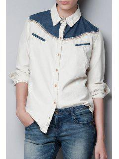 Turn-Down Collar Denim Splicing Long Sleeve Shirt - Off-white S