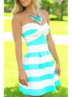 Striped Strapless A Line Dress - Azure Xl