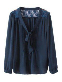 V Neck Lace Splicing Tie-Up Shirt - Purplish Blue S