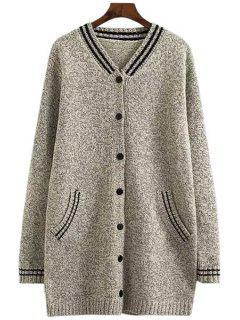 V-Neck Color Block Stripe Cardigan - Light Gray