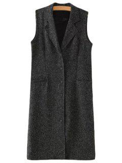 Lapel Single-Breasted Pocket Sleeveless Waistcoat - Deep Gray L