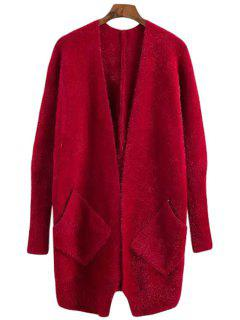 Solid Color Mohair Long Sleeve Cardigan - Red
