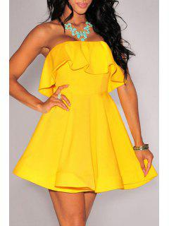 Pure Color Strapless Flare Dress - Yellow M