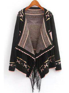 Turn-Down Collar Geometric Pattern Fringe Cardigan - Black