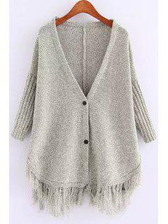 Deep V Neck Fringe Splicing Solid Color Cardigan - Gray