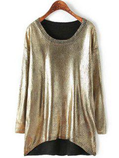 Loose-Fitting Sparkle And Glitter Sweater - Golden