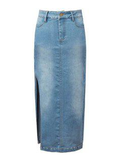 Denim Blue High Waisted Skirt - Light Blue S