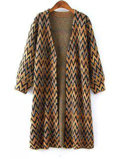 Zig Zag Pattern Long Sleeve Cardigan - Yellow
