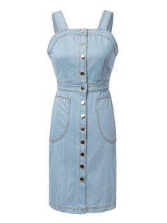 Light Blue Denim Sleeveless Dress - Blue L