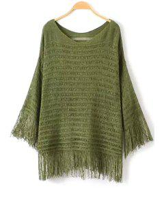Fringe Solid Color Long Sleeve Sweater - Army Green