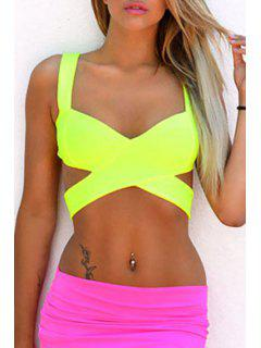 Solid Color Crisscross Hollow Out Crop Top - Yellow M