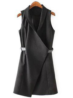 Solid Color Belt Sleeveless Waistcoat - Black M
