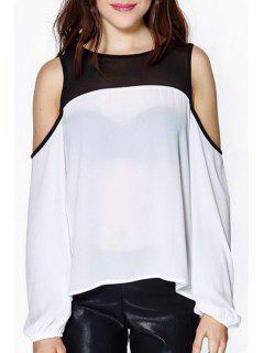 Color Block Long Sleeve Chiffon Blouse - White M