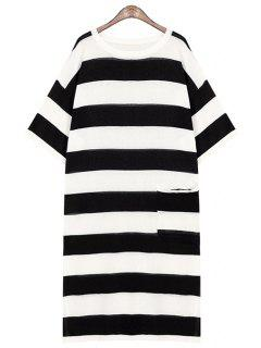 Striped One Pocket All-Match Sweater Dress - Black