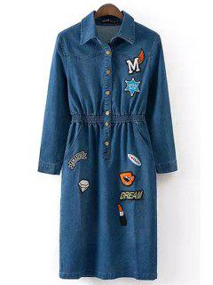 Embroidery Denim Long Sleeve Dress - Purplish Blue S