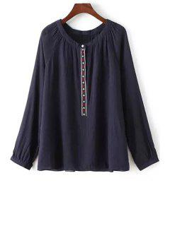 Ethnic Embroidery Long Sleeve Blouse - Black M