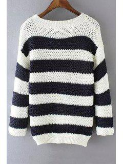 Scoop Neck Stripes Long Sleeve Sweater - White And Black L