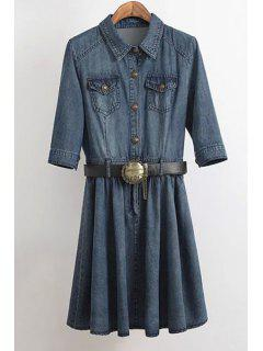 Denim Turn Down Collar Half Sleeve Dress - Blue L