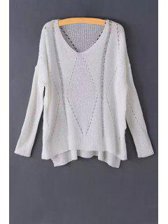 Pure Color Hollow Long Sleeve Sweater - White