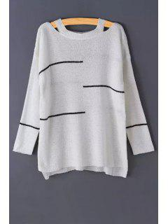Stripes Cut Out Long Sleeve Sweater - White