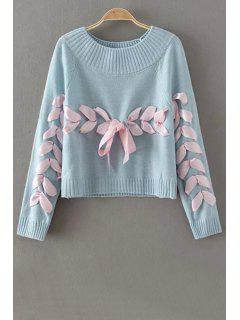 Lace Up Jewel Neck Long Sleeve Sweater - Blue