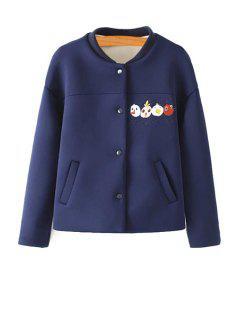 Cartoon Embroidery Stand Neck Jacket - Cadetblue M